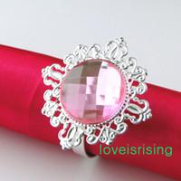 Бесплатная доставка DHL-150ps высокое качество розовый драгоценный камень серебряные кольца для салфеток держатель для салфеток свадебные товары-новые поступления