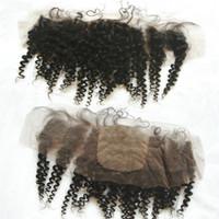 البرازيلي الأفرو غريب مجعد الحرير قاعدة الدانتيل أمامي 13x4 ابيض عقدة البرازيلي الإنسان الشعر الحرير الأعلى الرباط أمامي إغلاق شحن مجاني