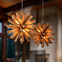 DHL Free Creative Design Wooden Pendant Light Spherical hang...
