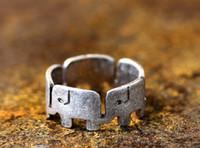 Adatti l'anello dell'elefante, gli anelli animali di testa a coda, placcanti gli anelli d'argento antichi per le donne trasporto libero all'ingrosso