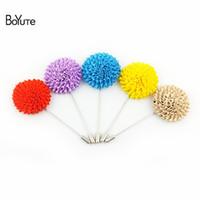 BoYuTe 5 pcs mix cores de alta qualidade flor broche atacado handmade tecido lapela pin para homens terno de jóias de casamento