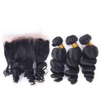 9A Brazilian Loose Wave Human Hair With Lace Frontal Hair Bu...