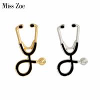 Srta. Zoe Broche de estetoscopio Broche de plata y oro Collar negro Regalo para doctores Enfermera Médicos Estudiante de graduación médica