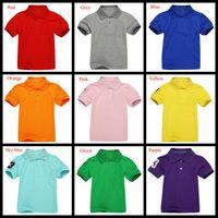 2-7 년 소년 폴로 셔츠 짧은 소매 말과 숫자 3 소매 어린이 통기성 여름 탑스 아이 셔츠 소년 소녀 솔리드 컬러 셔츠