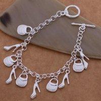 925 pulseira de prata banhado charme saco sapatas mulheres senhoras Charms Cadeia Bangle Vintage jóias pulseira de presente de Natal