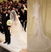 Star with veil Simple Beautiful Long One Tier Tulle Cathedra...