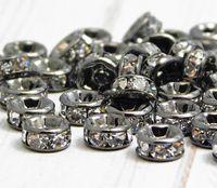 Vrac lots 50 PCS Gun Metal noir avec cristal clair Rondelle strass perles Entretoise Conclusions pour la fabrication de bijoux en 6mm