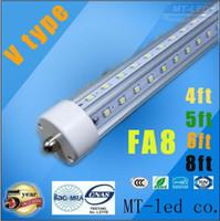 T8 V-förmig 4ft 5ft 6 ft 8 ft T8 Röhren Lichter Cooler Tür LED-Röhren Einzel Pin FA8 28W 32W 45W 65W Cold White AC 85-265V + CE RoHS UL