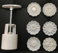 50g runde form dreidimensionale blume mond kuchen formen mit 6 stempel kunststoff handdruck chinesischen mond kuchenform, 20 sätze / los.