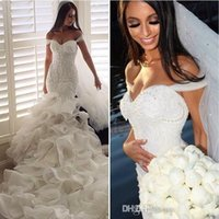 2018 New Luxury Mermaid Wedding Dresses Off Shoulder Lace Ap...