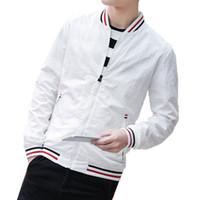 Мужские куртки белые стойки воротник куртка мужчины бейсбол сплошные весенние пальто британский стиль мода молодежь случайные черные дурки синий
