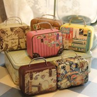 Nouveau Style rétro Petite valise Stockage Tin Box Sac Bijoux Changement Décoratif Bonbons Chocolat Boîtes Mini Boîte-Cadeau