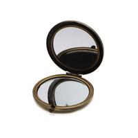 Leerer kompakter Spiegel DIY Metalltaschenkosmetik Tragbare Mirror 70mm / 2.75 Zinch Bronze Farbe # 18410-3 Kostenloser Versand
