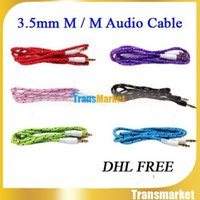 Gold braided woven Aux Audio Cable Cord 3. 5mm Car Extension ...