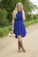 Modest Country Western Stil Royal Blue Kurz Brautjungfernkleider 2016 Strand Chiffon Einfache Knielange Hochzeit Brautspartei Formale Tragen