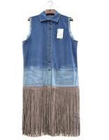 Avrupa Moda Yeni Tasarım kadın Sonbahar Durmak Aşağı Yaka Denim Kot Degrade Renk Patchwork Süet Deri Püskül Uzun Yelek Ceket Ml