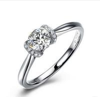 사랑 영원히 약속의 반지 여성을위한 1CT 합성 다이아몬드 약혼 반지 925 스털링 실버 웨딩 쥬얼리 18K 화이트 골드 도금 반지