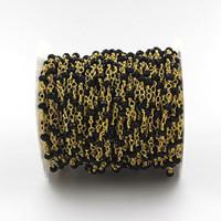 Venta al por mayor Negro Spinel rosario estilo con cuentas de cadena - 4x3mm facetadas Rondelles Negro Spinel granos envueltos en oro chapado en cadena de piedras preciosas con cuentas