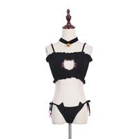 Wholesale-Cosplay Kawaii Lingerie Set Cat Embroidery Bra Briefs Bell Choker Collar Women Underwear