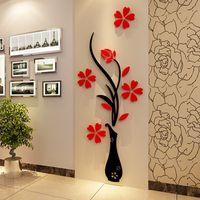 3D сливы ВАЗа стены стикеры home decor творческий наклейки на стены гостиной вход живопись цветы для комнаты Home Decor DIY Горячий Новый