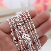 """Wholelsale 10 adet / grup 925 Ayar Gümüş Curb Zincirleri 2mm Kadın Lady Kolye Zincirleri Takı 16-30 """"Toplu"""