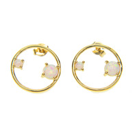 gold silver plated high polish sparking AAA+ cz opal stone r...