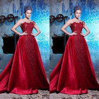 Saiid Kobeisy 2017 Red Evening Dresses With Detachable Train...