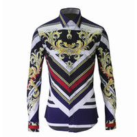 Wholesale new flora print shirt for men casual long sleeve c...