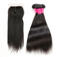 3 пучки волос с 1top кружева закрытия 100% необработанные Реми человеческих волос ткать и закрытие бразильский перуанский прямые Виргинские наращивание волос