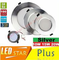 실버 본체 10W 15W 20W 주도 Downlights Recessed 천장 조명 120 각도 디 밍이 가능한 LED 다운 라이트 AC 110-240V 드라이버 CE UL