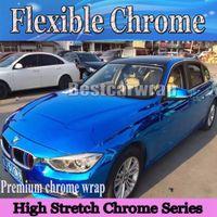 Mavi Krom araba Vinil Wrap Ile Yüksek Streç Için Araba Sarma Hava kabarcığı Ücretsiz yüksek kalite kolay wrap folyo boyutu: 1.52x20m / Rulo 5x66ft