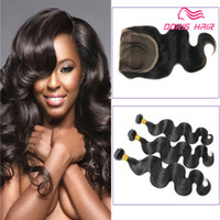 Free Lace Closure with hair weft 3 bundles body wave Brazili...
