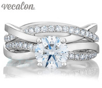 Vecalon 2016 fashion Engagement wedding ring Set for women 1ct Simulated diamond Cz 925 Sterling Silver Female Band ring R200