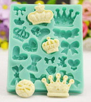 New Arrive 3D Various Crowns&Bows Shape Silicone Mold Fondan...