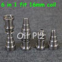 Universal 6 em 1 domeless joint hastes de titânio 10 milímetros 14 milímetros 18 milímetros para domeless prego ajuste gr2 masculino e feminino para a bobina 16 milímetros de aquecimento