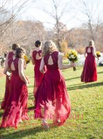 2016 Romantic Burgundy Bridesmaid Dresses A- Line V- Neck Ruff...