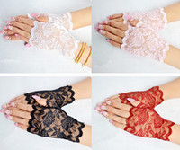 Fashion Hollow Rose Flower Pink Black Lace Sexy Gloves for W...