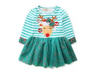 Kids Clothing Christmas Girls Dresses Green Cute Striped Cot...