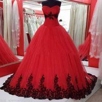 Новое поступление готические свадебные платья пухлые бальные платья красные и черные кружева аппликации мягкие тюль свадебные платья на заказ ну вечеринку