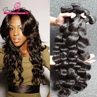 2 unids / lote Extensiones de cabello virgen de la onda profunda floja brasileña suelta de tejido de pelo rizado suelto paquetes humanos paquetes naturales negativos negativos remyhair