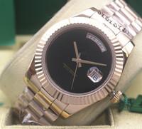 무료 배송 최고 품질 일 날짜 18 천개 로즈 골드 블랙 오닉스 블랙 다이얼 118208 자동 기계 남성 시계 남성 캐주얼 시계