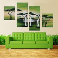 Pintadas a mano escénicas 4 pcs / set art paisaje pinturas al óleo sobre lienzo abstracto para la decoración de la sala de estar