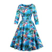 Chic Women' s Flamingo Sunflowers Print Autumn Swing Dre...