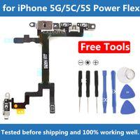 Original pour iPhone 4 5 5G 5S 5C 6 plus Interrupteur à bouton-poussoir Sommeil Volume Sommeil Bouton Mute Bouton Flex Câble + Supports métalliques Remplacement