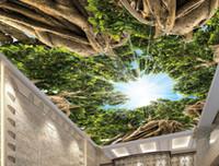 Estilo moderno 3D Foto fondo de pantalla personalizado árbol cielo bosque fondo de pantalla para techo pared 3D Fondos de pantalla para la sala