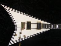 Tienda personalizada Exclusive Randey Rhoads RR 1.5 Crema eléctrica de guitarra con piñón negro Bloque de hardware de oro Mop Diapasón Inlay