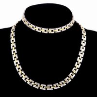 Necklace Bracelet Jewelry Set Gold Color Stainless Steel 10M...
