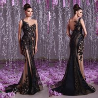 2019 Toumajean Couture Mermaid Abiti da sera Sheer Backless Una spalla in rilievo Prom Gowns lunghezza del pavimento Tulle Appliques Party Dress