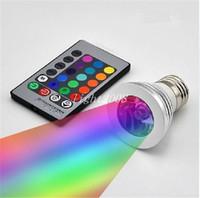 RGB LED 조명 전구 16 색 변경 3 w LED 스포트 라이트 RGB LED 전구 E27 램프 GU10 E14 및 24 키 원격 제어 85-265 V 무료 배송