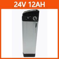 24 V 12Ah 15Ah 20ah 25ath 30Ah Silver Pesce Batteria 24 V Batteria elettrica Bike 7S 18650 Battery Pack con custodia sottile in alluminio BMS 29.4 V 2A Caricatore Top Scarica
